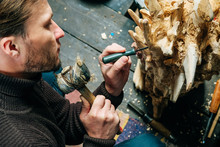 A Man Master Woodcarver Create...