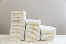 Stack Of Baby Disposable Diapers. Baby Hygiene