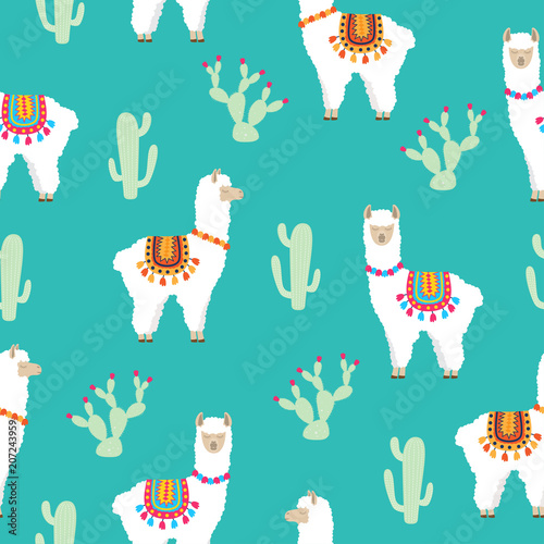 Tela  Llama Alpaca and cactus seamless pattern