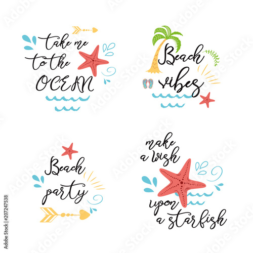 Set Of Summer Vacation Sea Posters Prints Banners Cards With