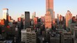 New York, New York City, Manhattan, Midtown Manhattan, elevated dusk view towards the Empire State Building, United States of America,