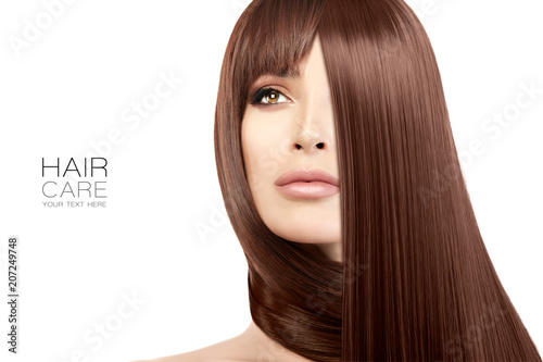 Papiers peints Individuel Hair salon concept. Beauty model girl with healthy straight hair