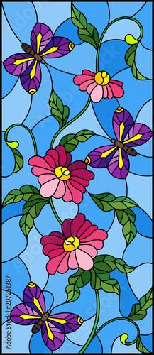 ilustracja-w-stylu-witrazu-z-streszczenie-krecone-rozowy-kwiat-i-fioletowy