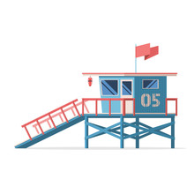Lifeguard Tower On The Beach. ...