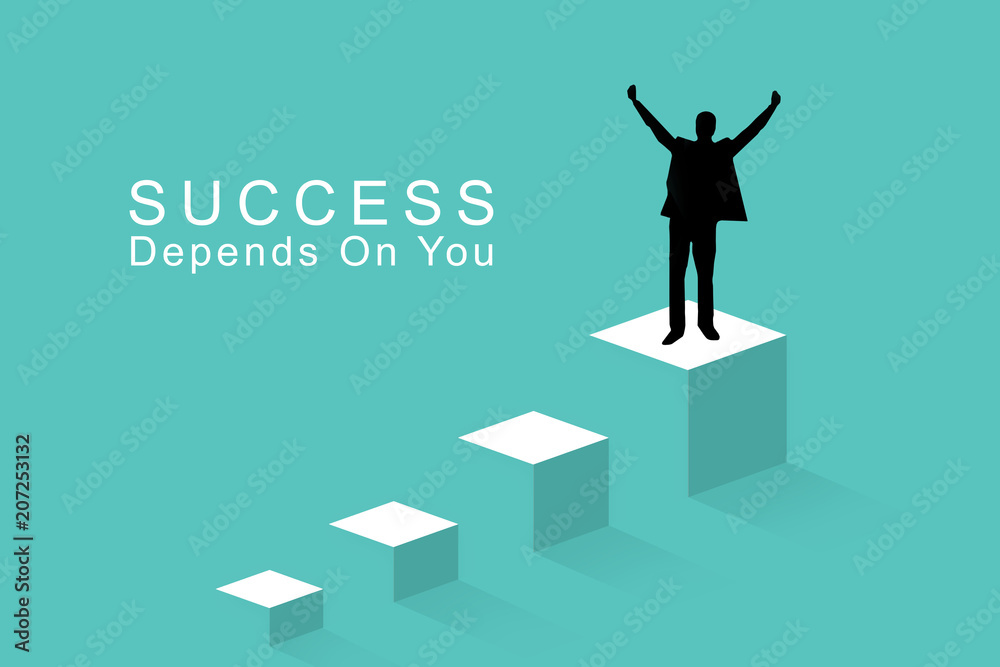 Fototapeta Business success concept, leadership, achievement and people concept - silhouette of businessman on top of a on the last step celebrating victory and triumph