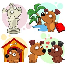 Set Of Cartoon Icons With Dogs For Design And Children. Image Of Dogs In The Form Of A Monument, A Traveler With A Suitcase On The Background Of The Sea And Palms, Two Lovers And A Dog In The Booth.