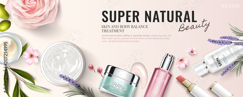 Fotografie, Obraz  Cosmetic product banner ad