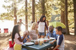 canvas print picture Family With Friends Camp By Lake On Hiking Adventure In Forest