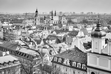 Black and white aerial view od Poznan Old Town, Poland.