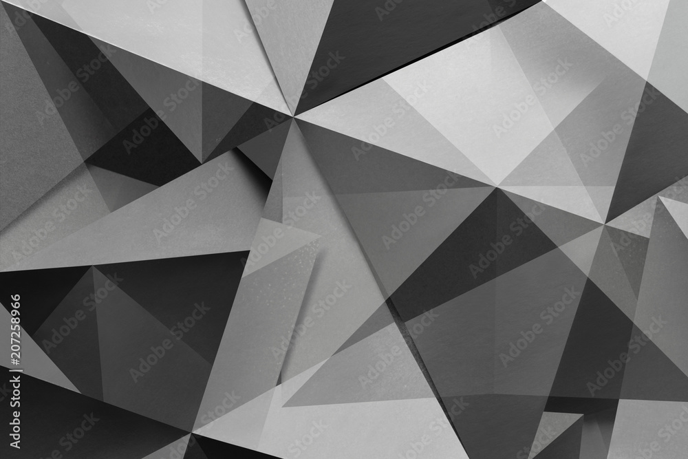 Polygonal shapes in black and white, abstract background