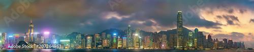 Tuinposter Aziatische Plekken Panorama of Hong Kong Island in the evening, China