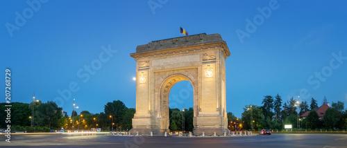 Photo Bucharest, the Triumphal Arch (Arcul de Triumf) at dusk