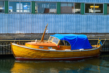 Vintage Wooden Boat With Blue ...