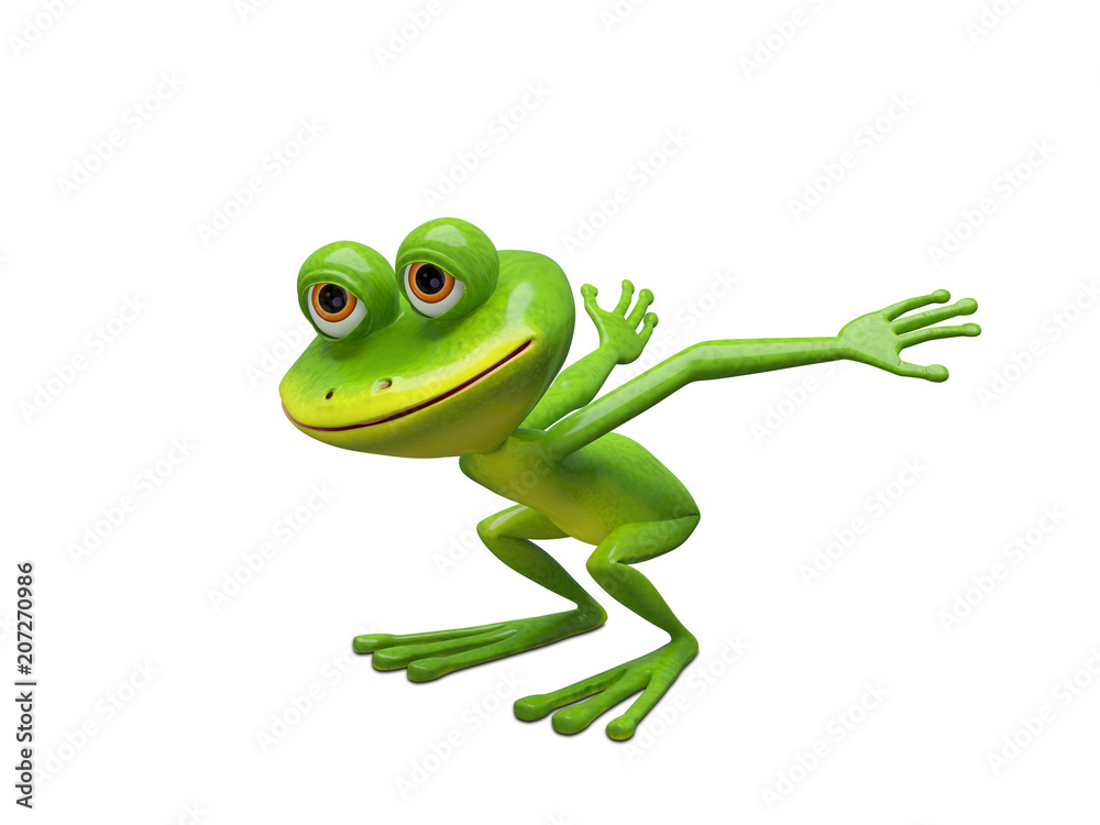 3D Illustration of a Frog Preparing for a Leap