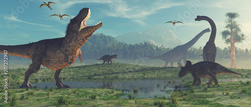 Photo 3d render dinosaur.