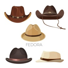 Fedora And Cowboy Hats Of Brow...
