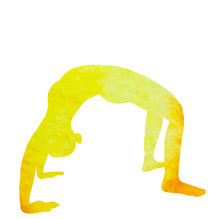 Silhouette Watercolor Girl Doing Yoga