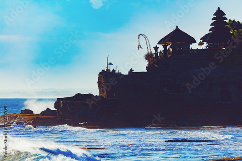 Fotobehang Asia land Silhouette of Tanah Lot temple in Bali, Indonesia