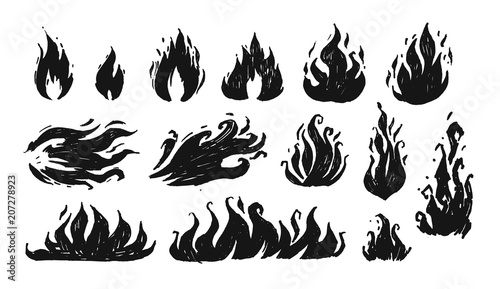 Valokuva Set of hand drawn flames