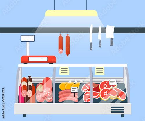 Fotografía  Meat Stand in Supermarket, Meat Display Refrigerator Showcase vector illustrati