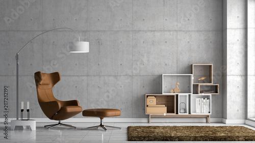 Modernes Wohnzimmer mit Sichtbetonwand
