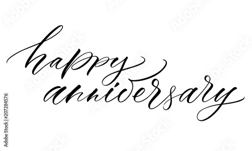 Happy Anniversary Lettering Handwritten Modern Calligraphy Brush