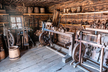 Old Village Workshop With Tools