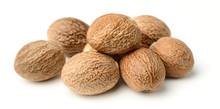 Nutmeg Spice Isolated On White