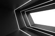 Leinwanddruck Bild - Abstract Architecture Design. Black Futuristic Interior Background