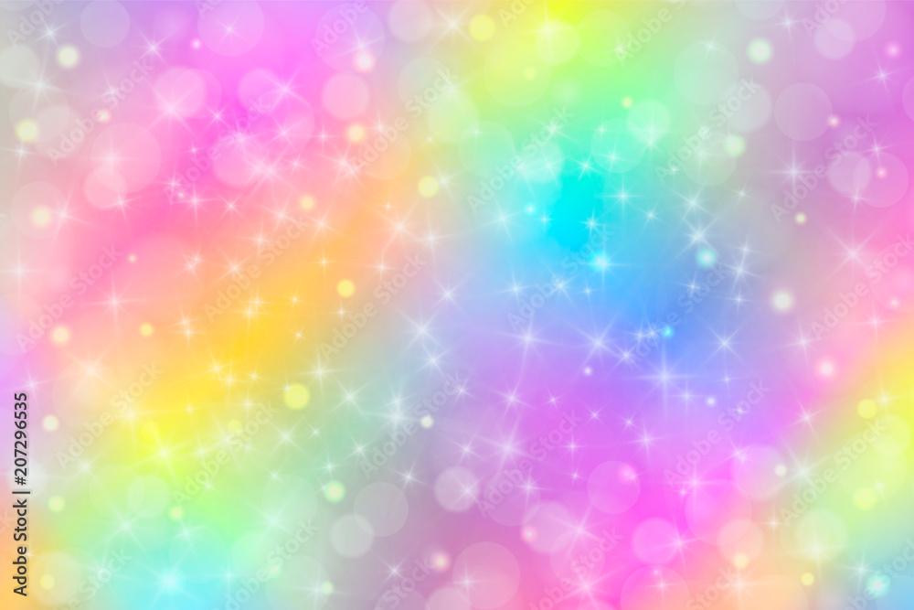 Ilustracja wektorowa holograficzne w pastelowym kolorze. Galaxy fantasy background. Pastelowe niebo z tęczą dla jednorożca. Chmury i niebo z bokeh.
