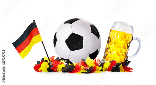Fotobehang Bol Glass with beer, soccer ball with german flag and flower chain