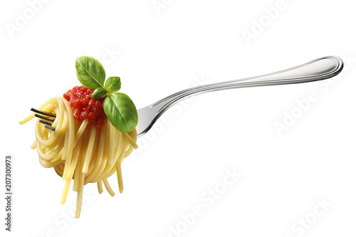 Fotografie, Obraz  Fork of spaghetti with tomato sauce and basil