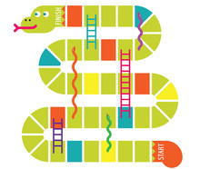 Snakes And Ladders Game Board. Vector Illustration