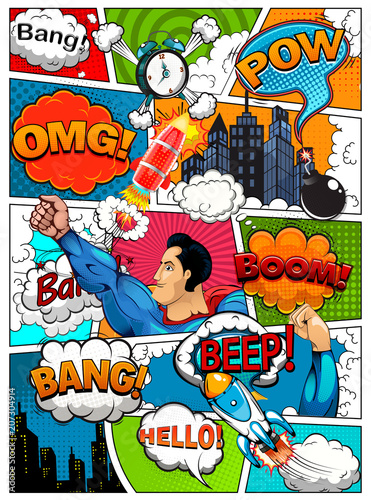 Strona komiksu podzielona liniami z bąbelkami mowy, efektem rakiety, superbohatera i dźwięków. Retro tło makieta. Szablon komiksu. Ilustracja