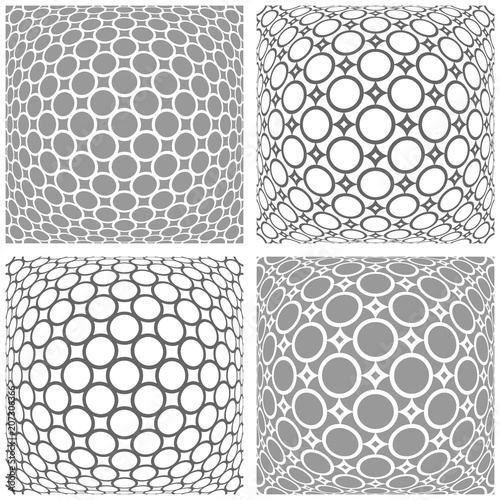 Photo  3D patterns set. Abstract convex geometric backgrounds.