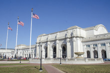 Exterior View Of Historic Union Station In Washington, DC