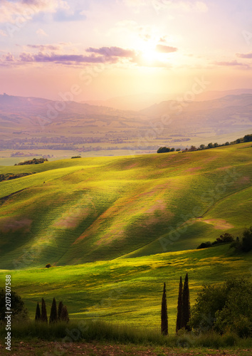 Photo Stands Light pink Italy; San Quirico d'Orcia; sunset over Tuscan Valdorcia rolling hills