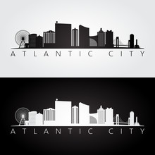 Atlantic City, USA Skyline And Landmarks Silhouette, Black And White Design, Vector Illustration.
