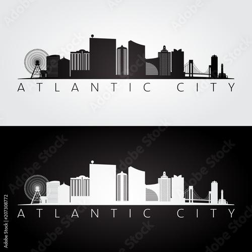 Fotografia  Atlantic city, USA skyline and landmarks silhouette, black and white design, vector illustration