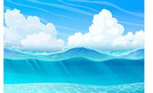 Vector Summer Cartoon Sea, Oce...