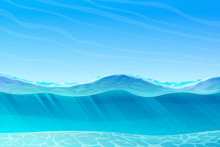 Vector Summer Cartoon Sea, Oce...