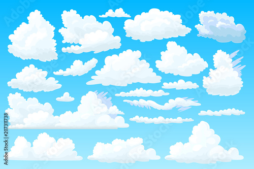 Ulus Ulonimbus Cloudscape Template 2d Design Air Smoke Elements Art Weather Outdoor Fun Banner On Blue Panorama Background