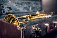 Old Golden Trumpet In A Black ...