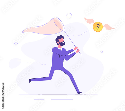 Photo Businessman is trying to catch flying dollar coin with a scoop-net