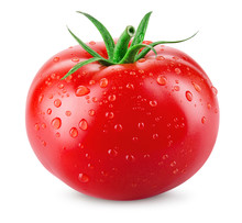 Tomato. Tomato With Drops Isolated. With Clipping Path.