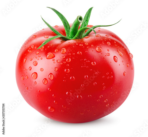Fotomural Tomato. Tomato with drops isolated. With clipping path.