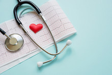 Cardiogram And Stethoscope On ...