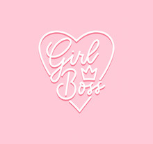 Girl Boss Vector Poster With Lettering Inscription, Crown And Heart. Calligraphy Isolated On Pink Background. Feminism Slogan With Hand Drawn Lettering. Print For Poster, Card.
