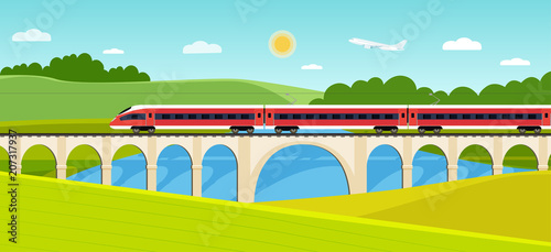 Foto op Canvas Lichtblauw Train on railway and bridge with forest and river. Vector flat style illustration