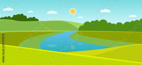 Tuinposter Lichtblauw Summer landscape with forest and river. Vector flat style illustration